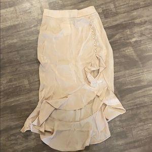 Forever 21 satin nude ruffle skirt